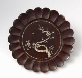 "Lacquer dish with moon and plum blossoms, 10 5/8"", Korea"