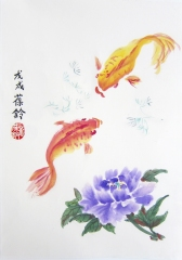 Carp fish and peonies